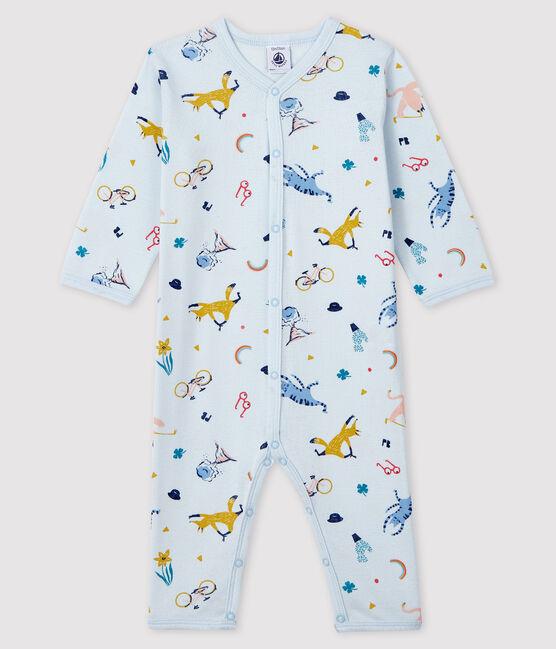 Pelele de punto acanalado azul con estampado de animales para bebé niño azul Fraicheur / blanco Multico