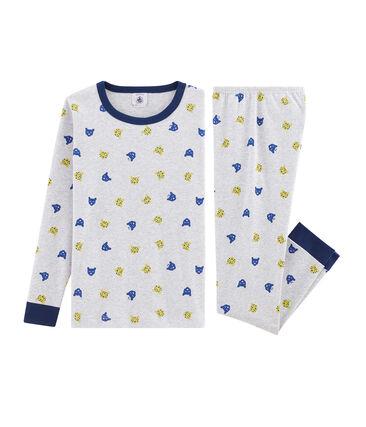 Pijama de corte muy ajustado para niño gris Poussiere / blanco Multico
