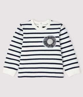 Sudadera emblemática para bebé niña blanco Marshmallow / azul Smoking