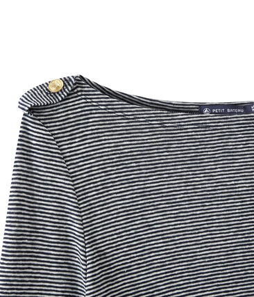 Camiseta de manga larga de lino rayado