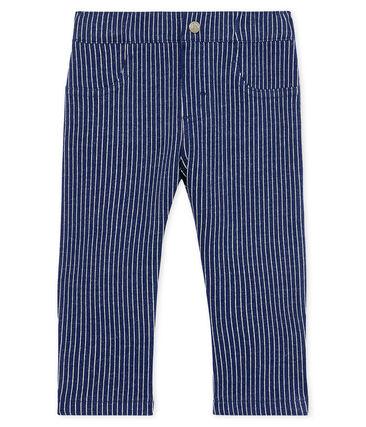 Pantalón de tela de rayas para bebé niño azul Smoking / blanco Marshmallow
