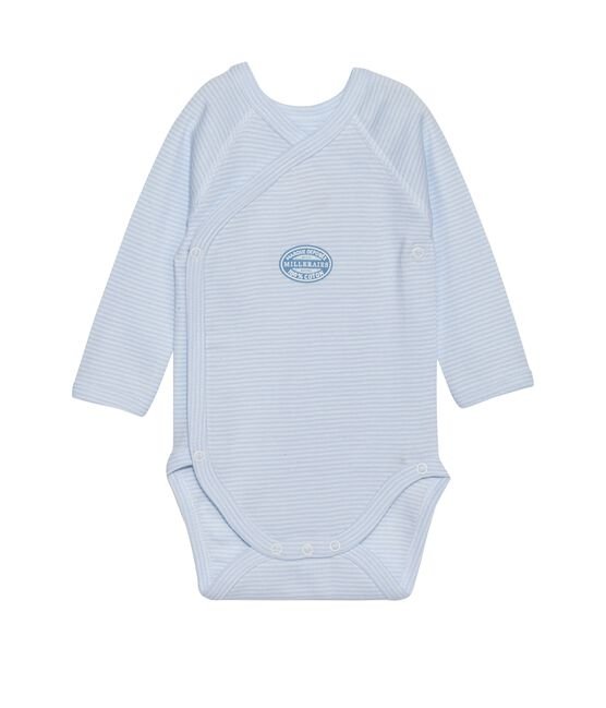 Body de manga larga milrayas de primera puesta para bebé niño azul Fraicheur / blanco Ecume