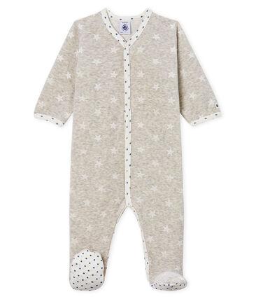 Pijama de terciopelo para bebé niño gris Beluga / blanco Marshmallow