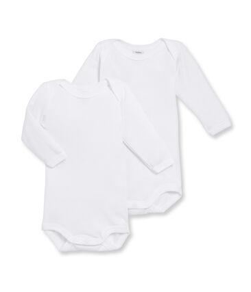 Par de bodis de manga larga para bebé de niño blanco Marshmallow