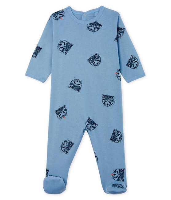Pijama de punto para bebé niño azul Acier / blanco Multico