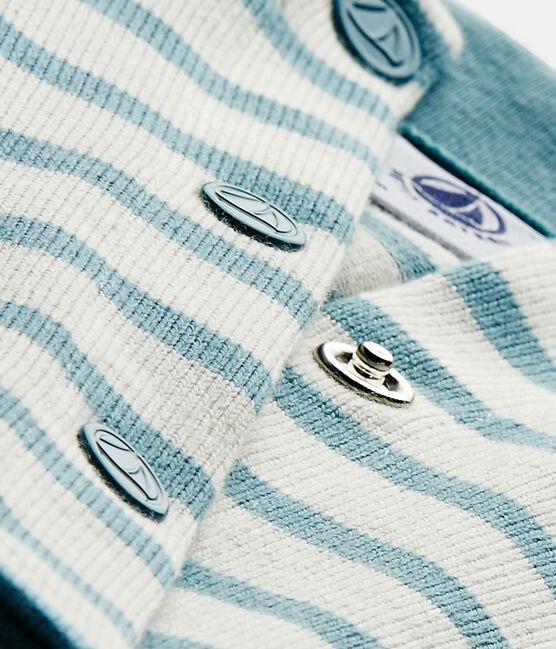 Cárdigan de bebé niña a rayas blanco Marshmallow / azul Mimi