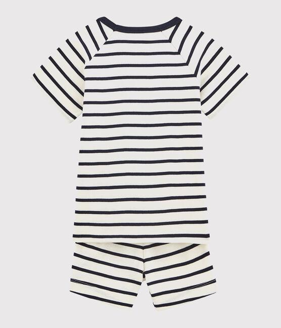 Pijama infantil corto marinera con acanalado blanco Marshmallow / azul Smoking