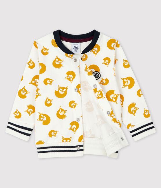 Cárdigan estampado para bebe niño blanco Marshmallow / amarillo Boudor