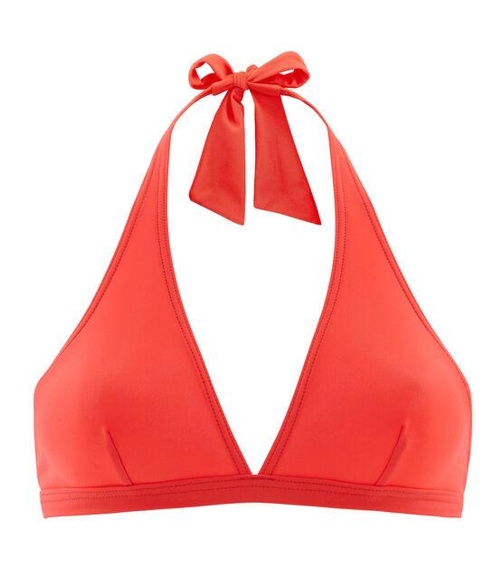 Sostén de traje de baño liso para mujer rosa Groseiller