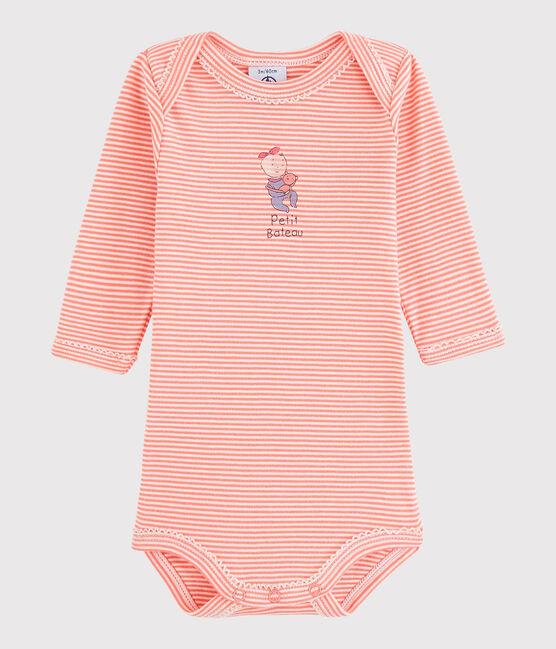 Bodi de manga larga de bebé niña rosa Peachy / blanco Lait