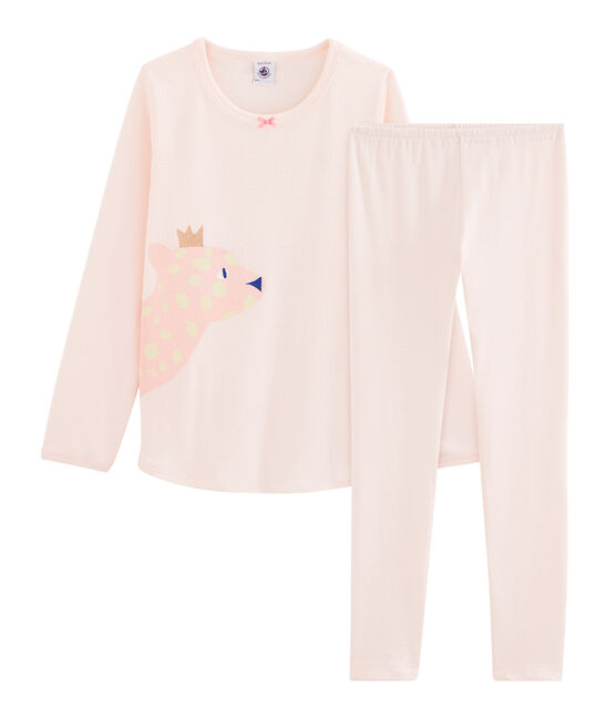 Pijama de punto para niña rosa Fleur