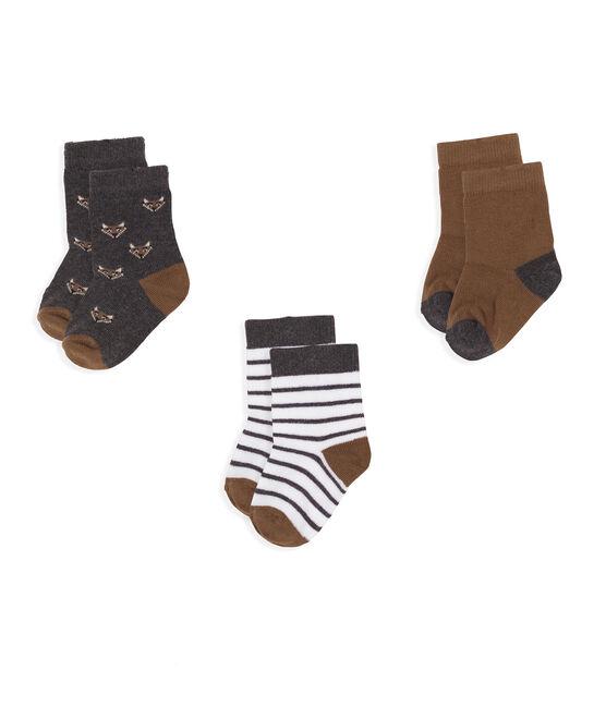 Lote de 3 pares de calcetines para bebé niño gris City Chine
