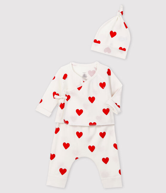 Conjunto de regalo de corazones rojos para bebé niña de punto blanco Marshmallow / rojo Terkuit