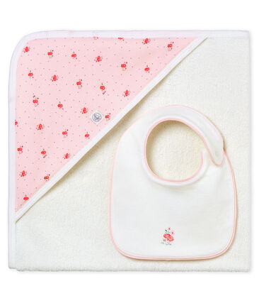 Toalla cuadrada de baño y babero para bebé niña
