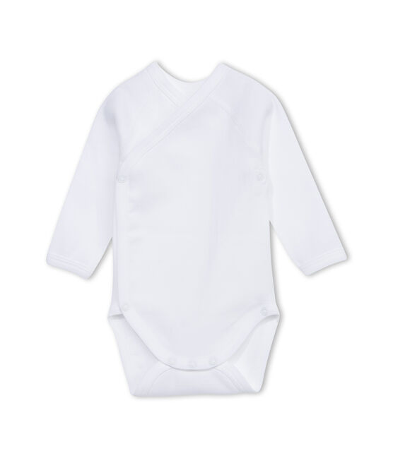 Body liso unisex de manga larga para recién nacido blanco Ecume