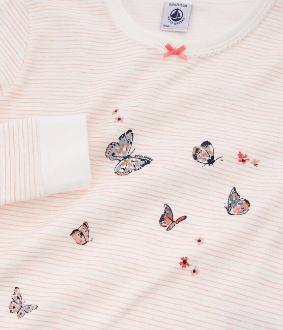 Pijama de corte muy ajustado de punto para niña blanco Marshmallow / rosa Rosako