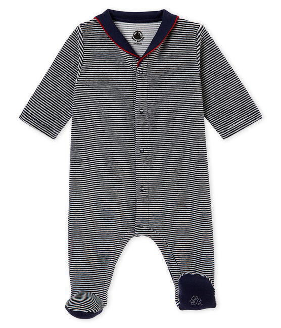 Pijama de terciopelo con la milrayas para bebé niño azul Smoking / blanco Multico