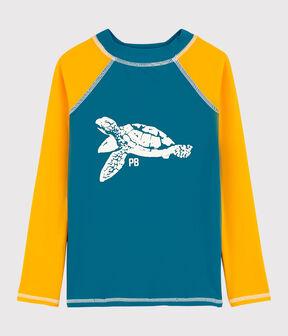 Camiseta anti-uv reciclada de niño azul Mykonos / amarillo Tehoni
