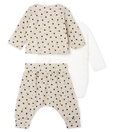 Conjunto de tres piezas para bebé niño de lana y algodón beige Montelimar / blanco Multico