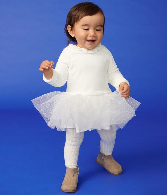 Vestido de manga larga para bebé niña blanco Marshmallow