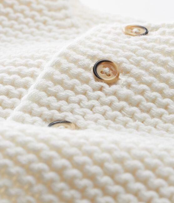 Cárdigan de lana y algodón de punto musgo para bebé niña blanco Marshmallow