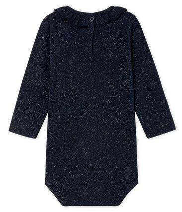 Body de manga larga estampado con cuello isabelino para bebé niña azul Smoking / amarillo Dore