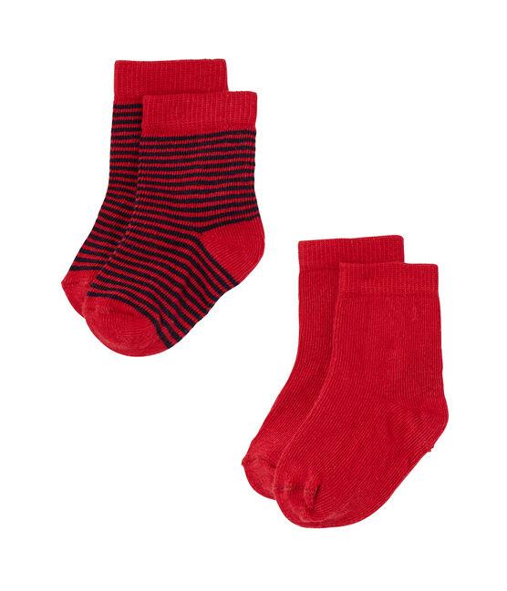 Lote de 2 pares de calcetines de bebé niña lisos + rayados lote .