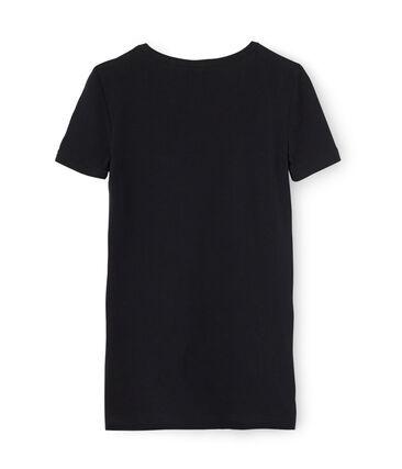 Camiseta manga corta de cuello pico para mujer negro Noir
