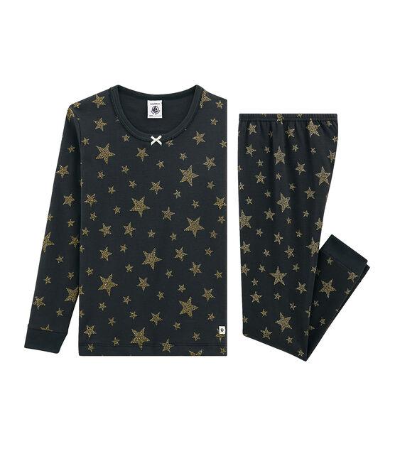 Pijama de corte muy ajustado de punto para niña gris Capecod / amarillo Or