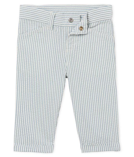 Pantalón de rayas para bebé niño azul Fontaine / blanco Marshmallow
