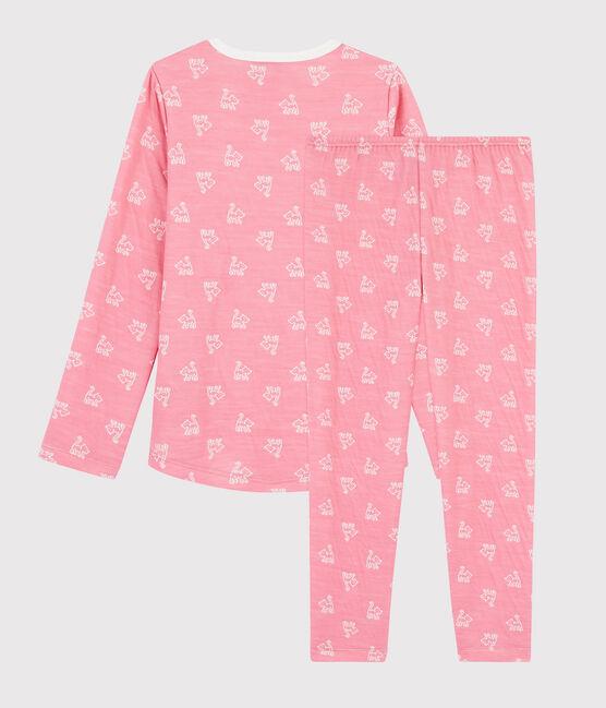 Pijama de jacquard con gatitos para niña de lana y algodón rosa Cheek / blanco Marshmallow