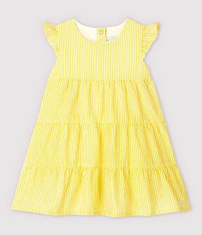 Vestido de manga corta de mil rayas de bebé niña amarillo Shine / blanco Marshmallow