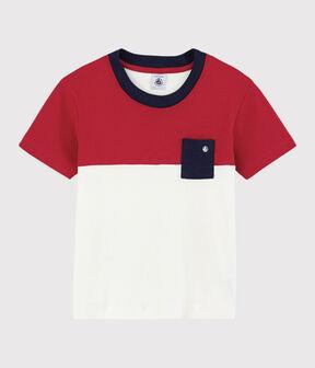 Camiseta de manga corta de algodón de niño rojo Terkuit / blanco Marshmallow