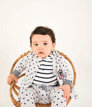 Pantalón de tejido túbico estampado para bebé niño gris Beluga / azul Smoking