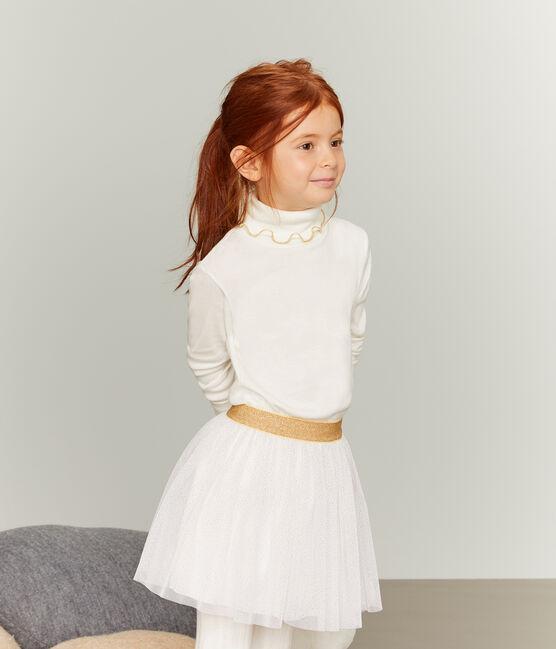 Jersey de cuello alto para niña blanco Marshmallow / amarillo Or