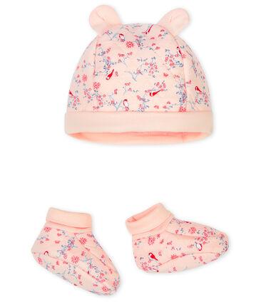 Juego de gorro de nacimiento y patucos para bebé de túbico. rosa Fleur / blanco Multico