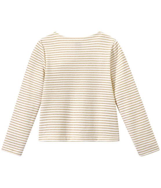 Cárdigan a rayas para niña blanco Marshmallow / marrón Em Dore