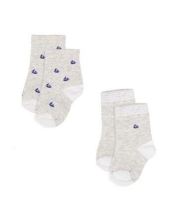 Lote de 2 pares de calcetines para bebé niño gris Beluga