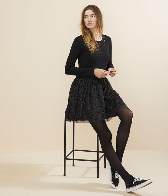 Vestido de dos materiales de tul para mujer BLACK/OR
