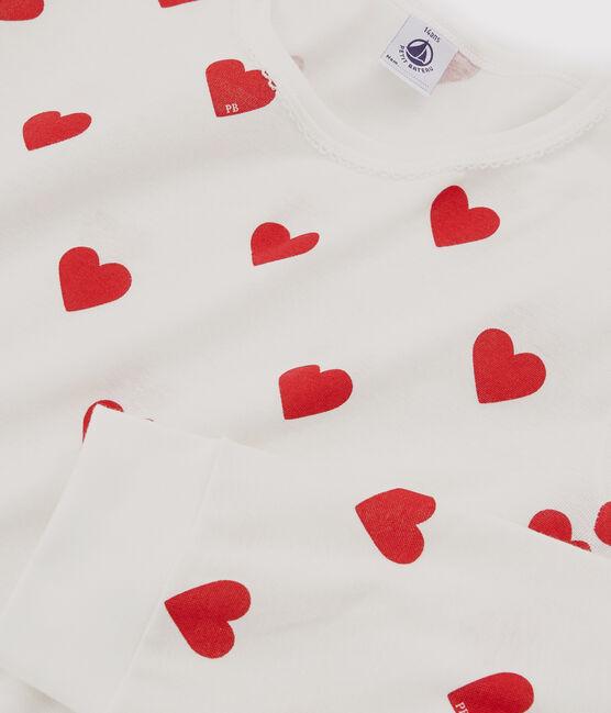 Pijama de niña-mujer con corazones de punto blanco Marshmallow / rojo Terkuit