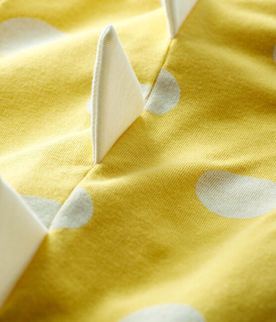 Pelele corto de punto acanalado con dinosaurio para bebé amarillo Ble / blanco Ecume