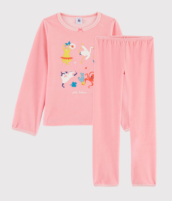 Pijama rosa con animales yoga de niña de terciopelo rosa Gretel