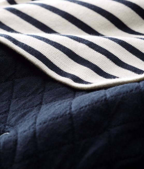 Mono largo falso dos piezas para bebé niño blanco Marshmallow / azul Smoking