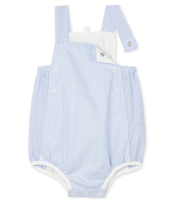 Pelele corto para bebé de popelina a rayas blanco Marshmallow / blanco Multico