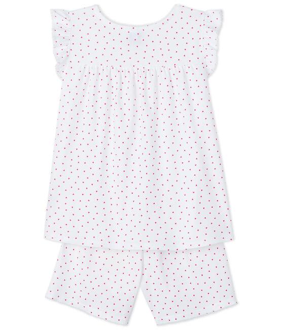 Pijama corto corazón rosa para niña de canalé blanco Ecume / rosa Rose