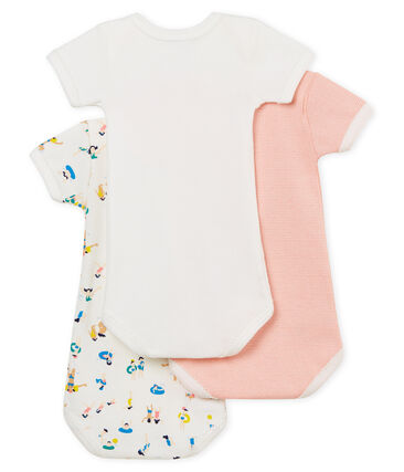 Tres bodis manga corta para bebé niña lote .