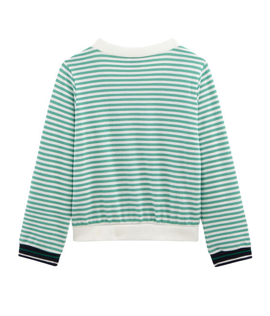 Cárdigan infantil para niña verde Aloevera / blanco Marshmallow