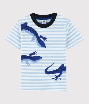 Camiseta de manga corta de punto de niño azul Jasmin / blanco Marshmallow