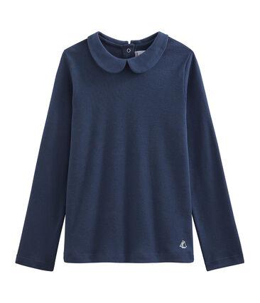Camiseta niña con cuello babero azul Haddock
