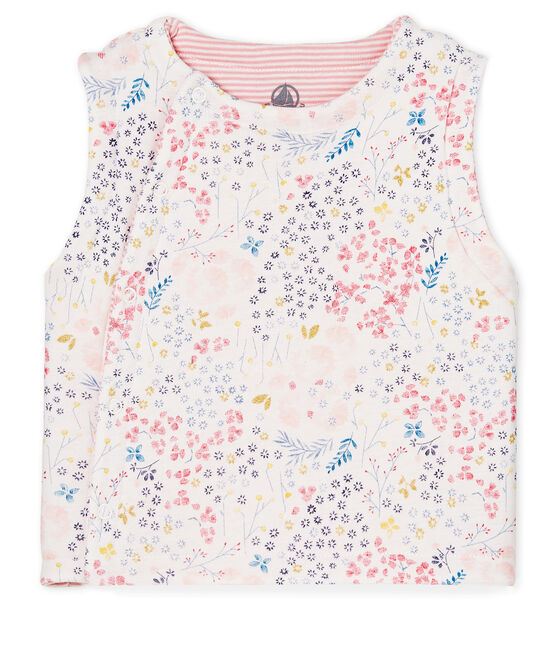 Chaleco sin mangas reversible para bebé niña blanco Marshmallow / blanco Multico